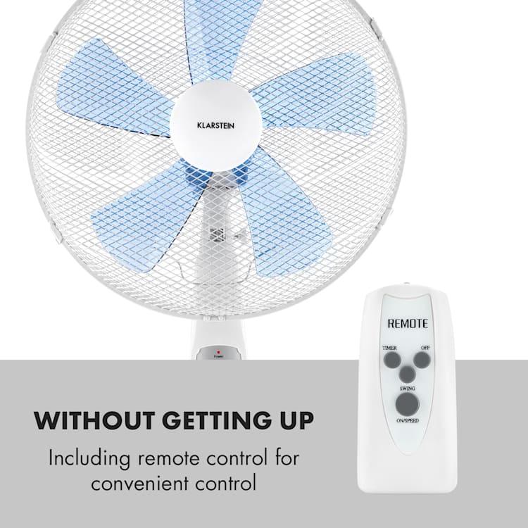 Summerjam, ventilator cu suport, alb, 41 cm, 50 W, 3 nivele de viteză, debitul de aer 69.18 m³ / min., inclusiv telecomandă Alb