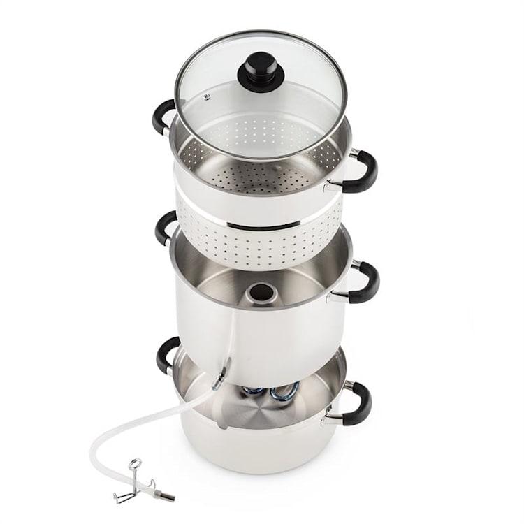 Applebee Dampf-Entsafter elektrisch 1500W Ø25cm 8 Liter Edelstahl