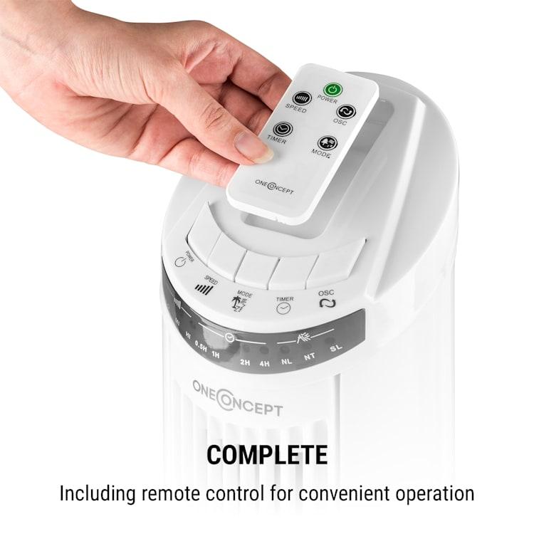 Entilator stand 50W 45 ° temporizator, oscilație, stativ, telecomanda, alb Alb