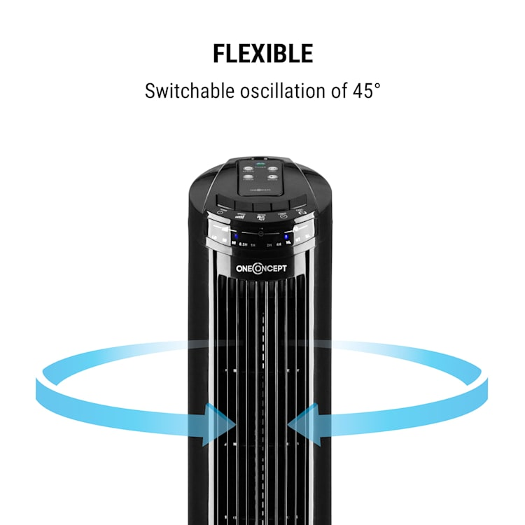 Entilator stand 50W 45 ° temporizator, oscilație, stativ, telecomanda, negru Negru