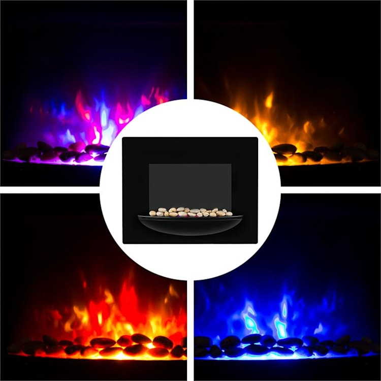 Feuerschale, elektrický krb, 1800 W, nástenný, ilúzia plameňov, dekoračné kamene, čierny
