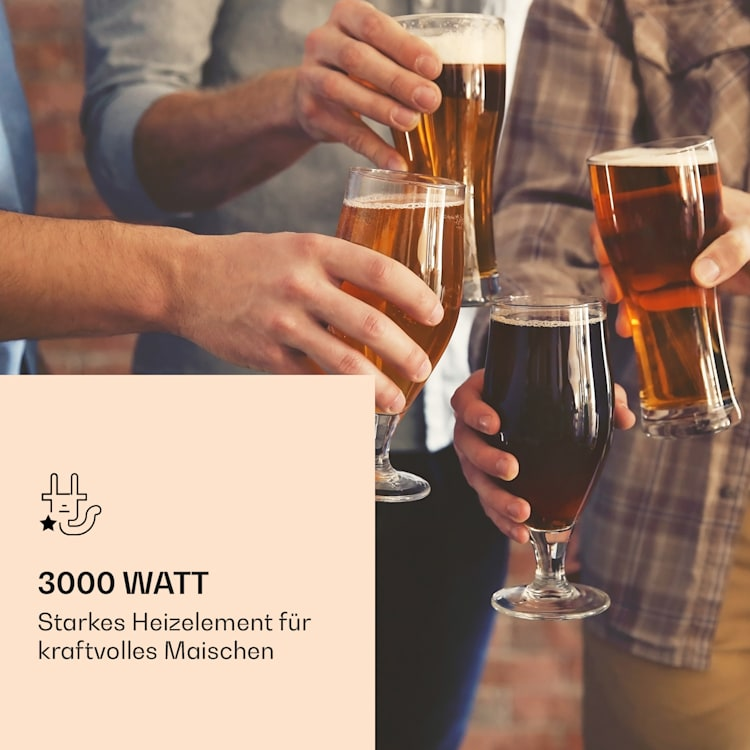 Mundschenk XXL Maischekessel Bierbrauanlage 3000W 50l 304 Edelstahl