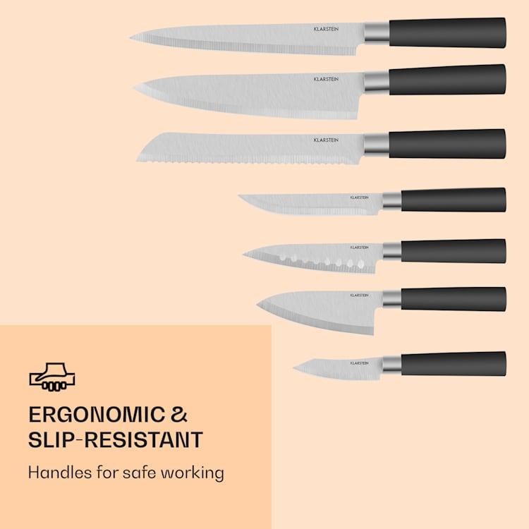 Kitano 8 pezzi Set di coltelli con blocco lame di precisione design giapponese