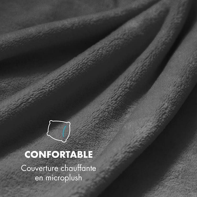 Dr. Watson XL Couverture chauffante 120W 180x130cm microfibre - noir Noir | XL