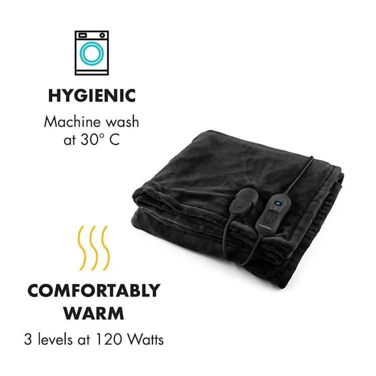 Dr. Watson XL, vyhrievacia deka, 120 W, 180 x 130 cm, prateľná, mikroplyš, čierna Čierna | XL