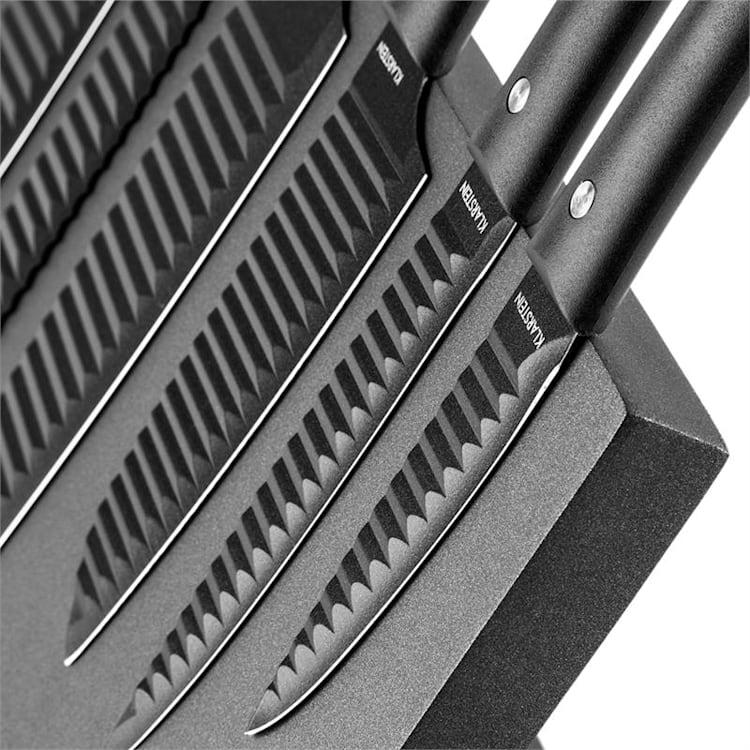 Kissaki Knife Set Magnetic Anti-Stick Coating Wave Form black Black