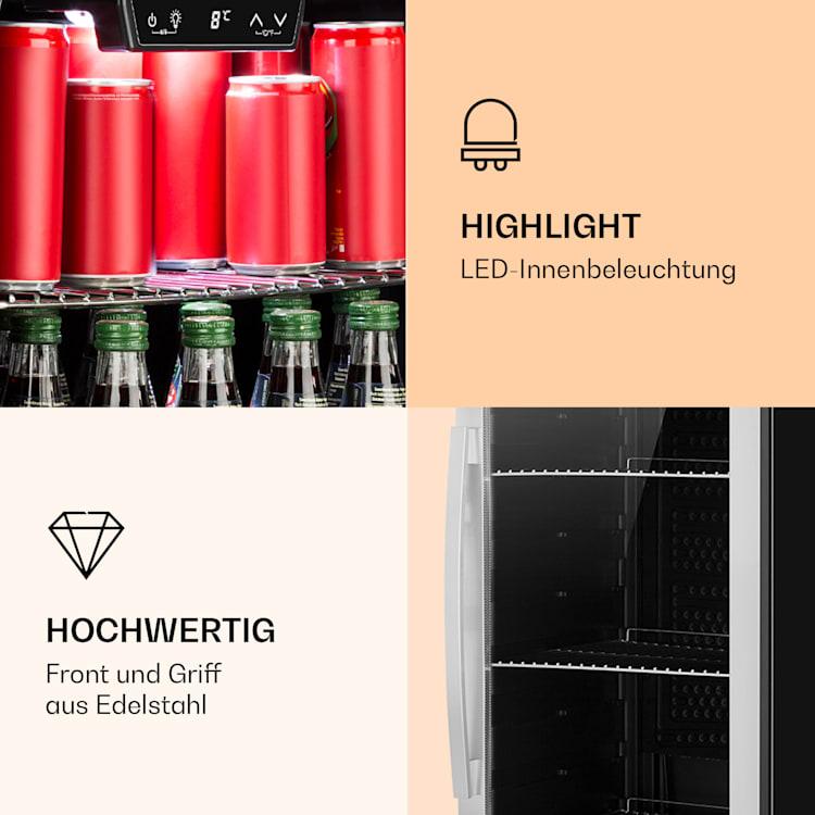 Beersafe 6XL Kühlschrank 201 Liter 5 Böden Panoramaglastür Edelstahl  Silber | 201 Ltr