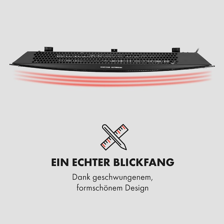 Bornholm Curved Konvektions-Heizgerät Thermostat Timer 2000W Standgerät Wandhalterung schwarz Schwarz