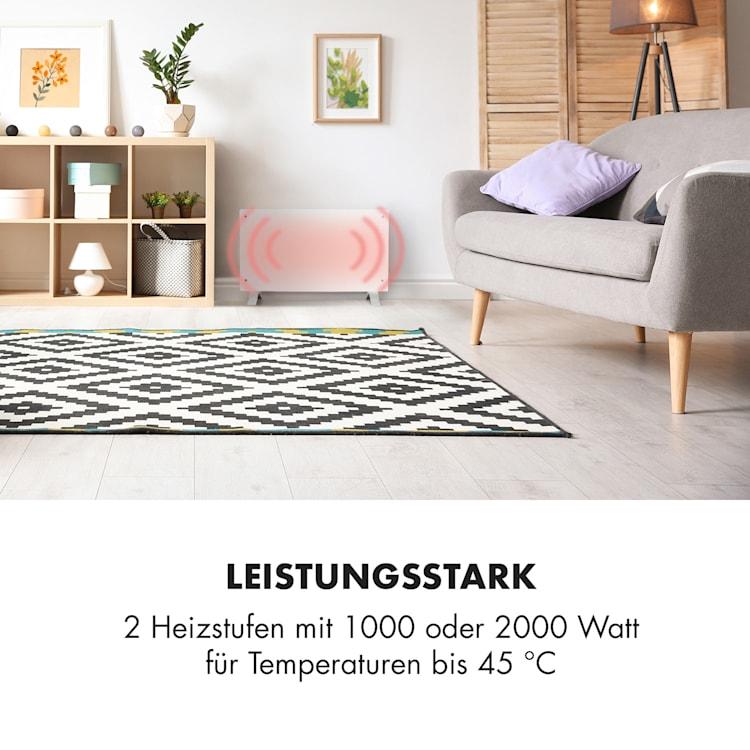 Bornholm Curved Konvektions-Heizgerät Thermostat Timer Standgerät Wandinstallation 2000W Weiß