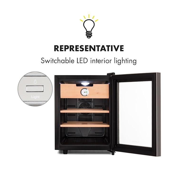 El Presidente 33, humidor, 50 W, dotykový, bukové drevo, 33 l, LED, čierny/strieborný Strieborná | 33 litrov