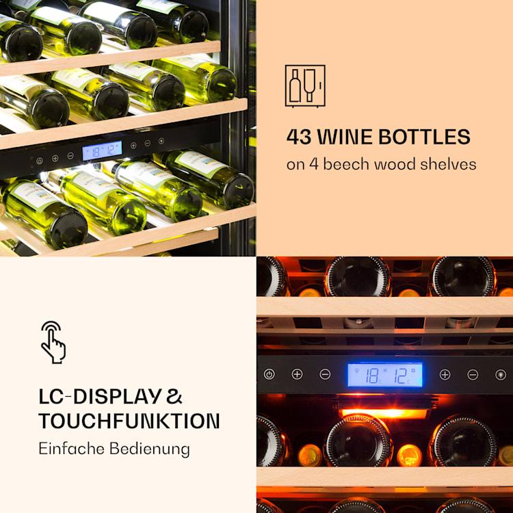 Vinovilla Duo 43, 2-djelni hladnjak za vino, 129 l, 43 flaše, 3 boje, staklena vrata 43 Ltr | 2_cooling_zones