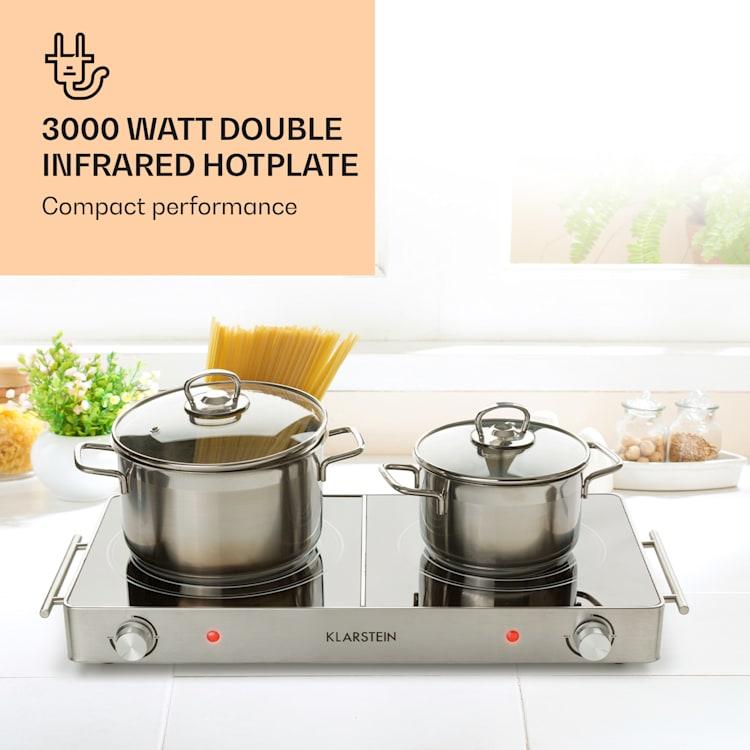 VariCook Duo Hotplate 3000W Stainless Steel Housing Carrying Handles  Silver