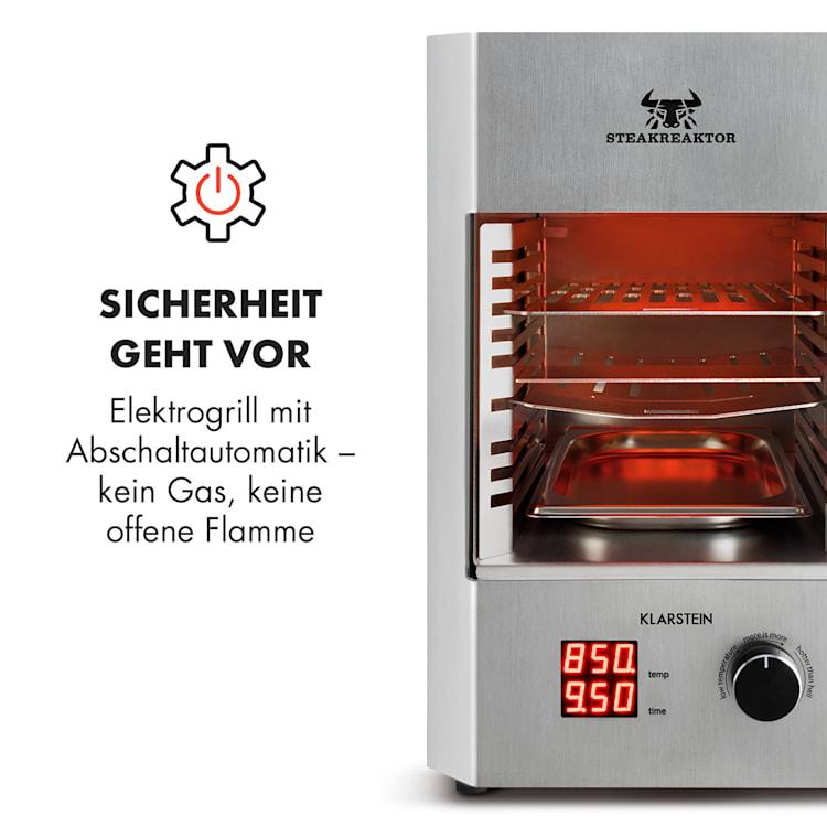 Steakreaktor 2.0 - Edelstahl Edition - Indoor Grillgerät Hochtemperaturgrill 1600W 850°C Made in Germany Silber