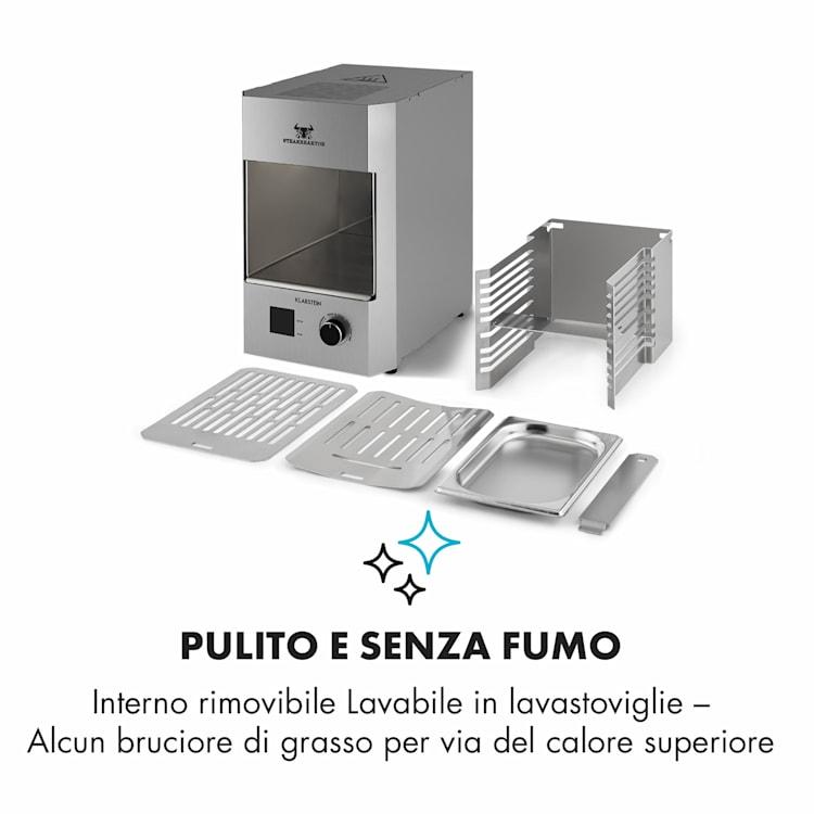 Steakreaktor 2.0 - Edizione Acciaio Inox - Griglia Indoor 1600W 850°C Made in Germany Argento