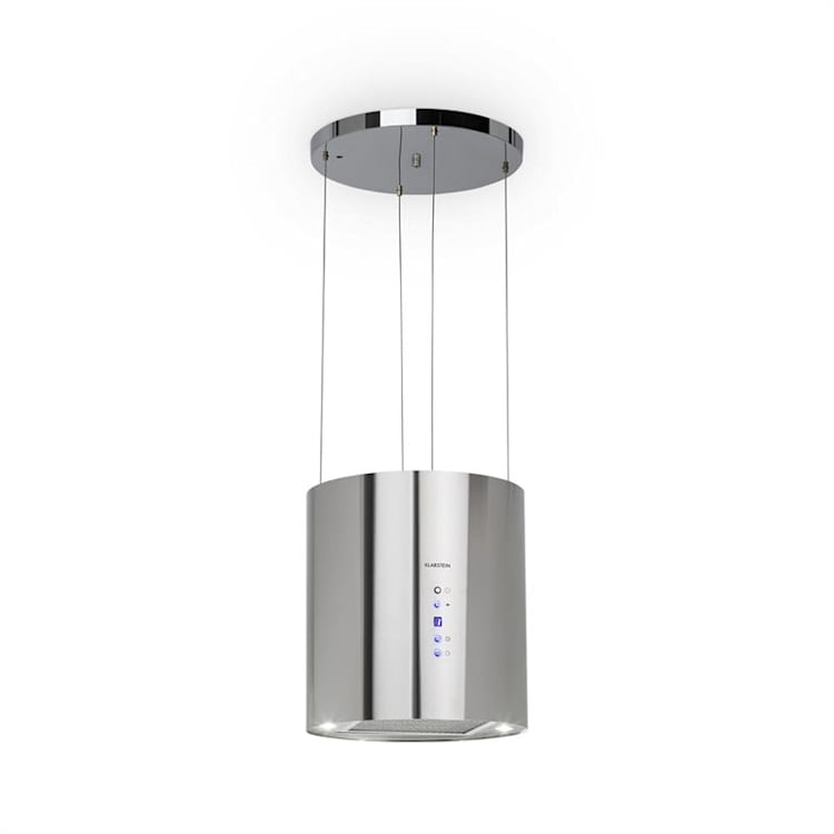 Barett Inselabzugshaube Ø35cm Umluft 560m³/h LED Aktivkohlefilter Edelstahl Silber