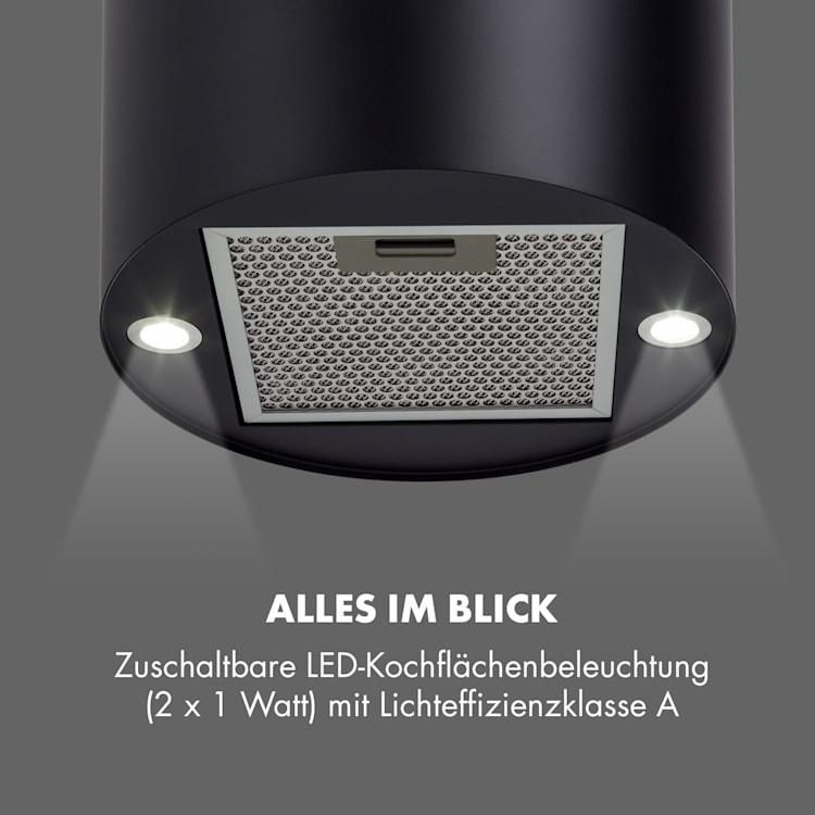 Barett Inselabzugshaube Ø35cm Umluft 558 m³/h LED Aktivkohlefilter  Schwarz
