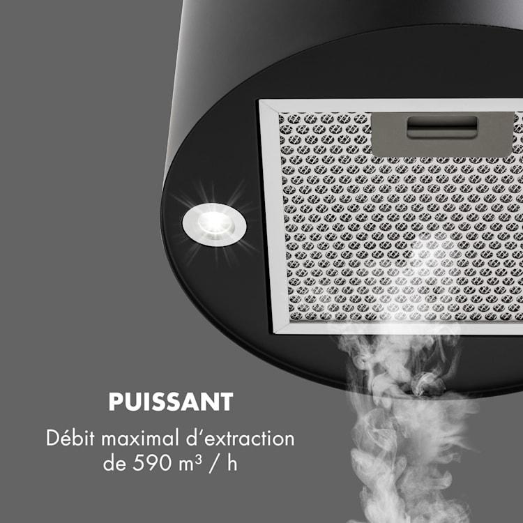 Hotte aspiranteîlot Barett Ø35cm recirculation 558 m³/h LED filtre à charbon actif  Noir