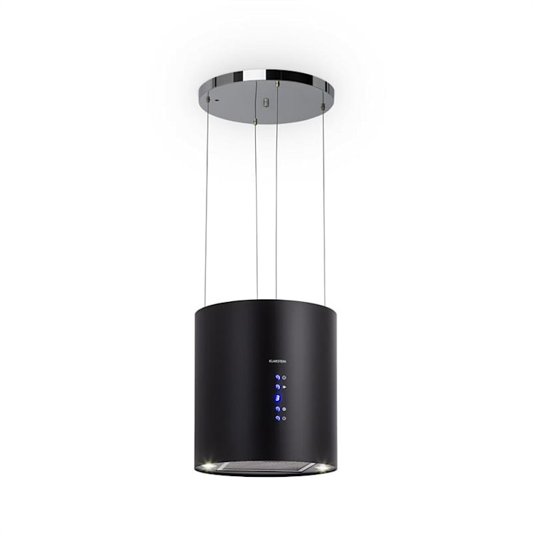 Barett, sziget páraelszívó, Ø 35 cm, légkeringetés, 560 m³/h, LED, szűrő aktív szénnel, fekete Fekete