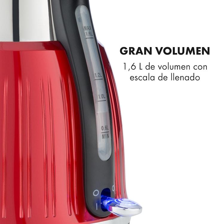 Cancan hervidor de agua 1,6L 1800-2150W diseño retro base de 360° rojo Rojo