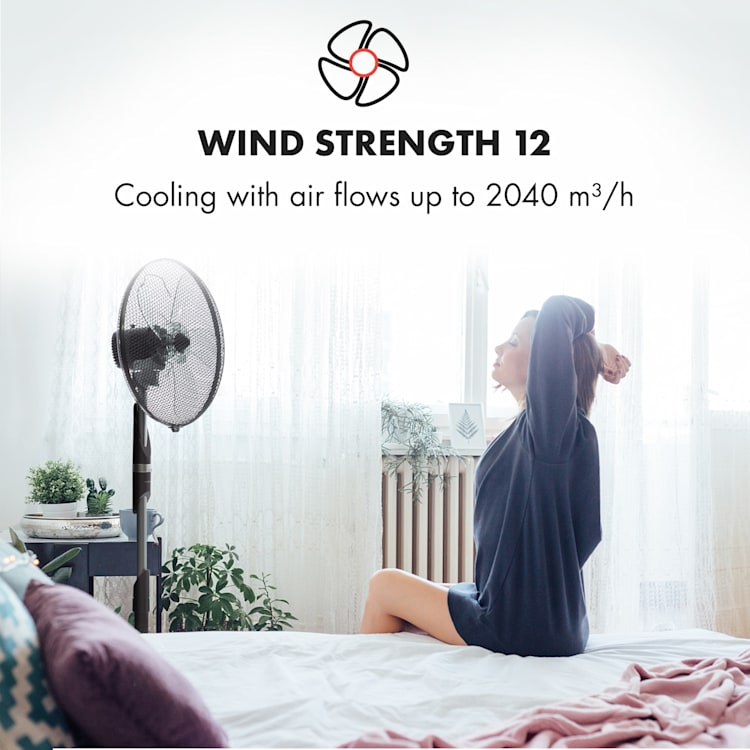 "Summer Vibe Stand Fan 16"" 55W 2040m³ / h Oscillation 65 ° Black"