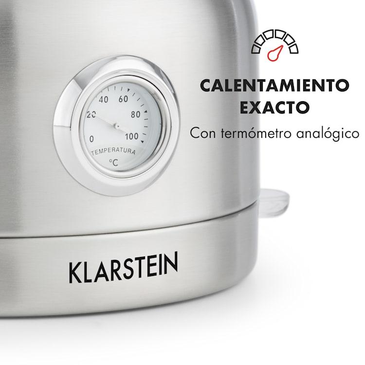 Carlina Hervidor de agua retro 1,7l 1850-2200W Tetera Acero inoxidable