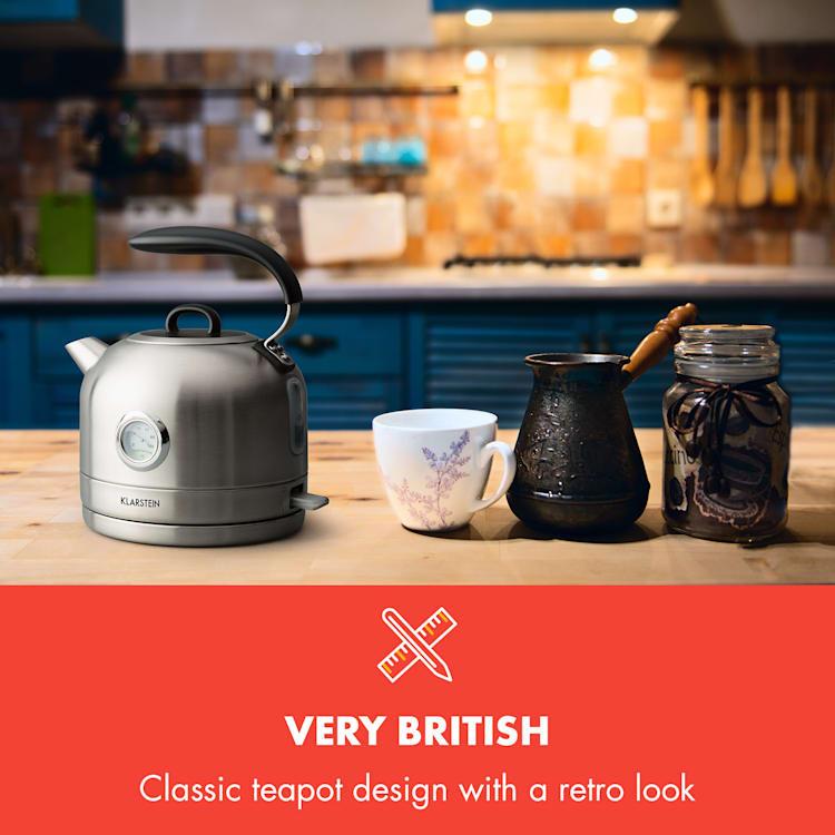 Carlina, retro električno kuhalo, 1.7l, 1850-2200W, dizajn čajnika, nehrđajući čelik