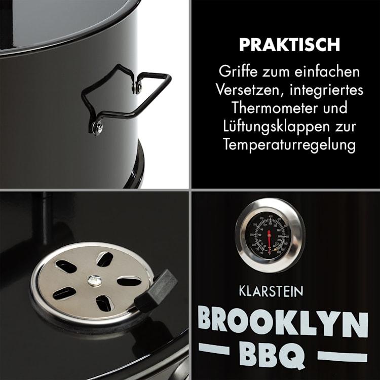 Brooklyn-BBQ 4-in-1-Grillfass | Grill, Smoker SlowCooker & Feuerschale | Ø 42 cm | Stahl | pulverbeschichtet