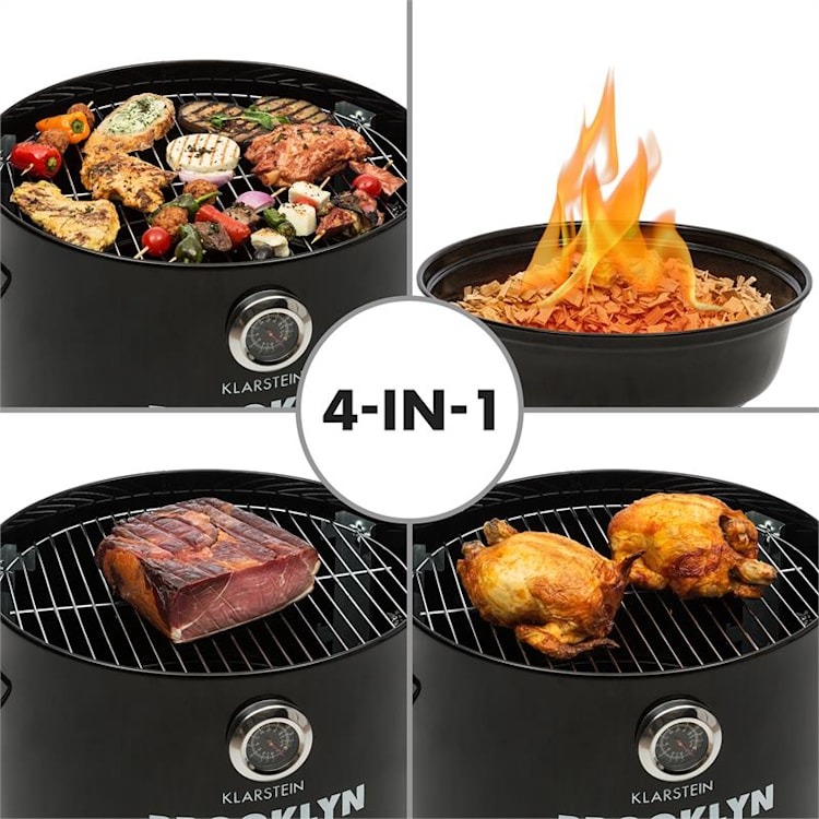 Brooklyn-BBQ, 4-în-1, grill butoi, Ø 42 cm, oțel, vopsea pulbere