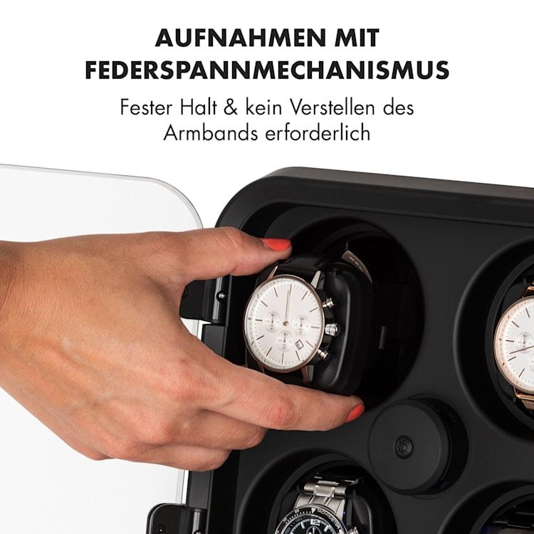 Clover Uhrenbeweger   4 Uhren   3 Rotationen   4 Geschwindigkeiten   blaue LED-Beleuchtung   Kunststoffgehäuse