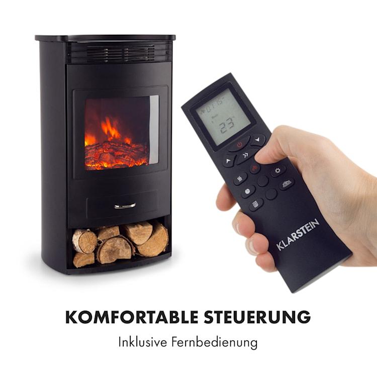 Bormio Elektrischer Kamin 950/1900W Thermostat Wochentimer schwarz Schwarz
