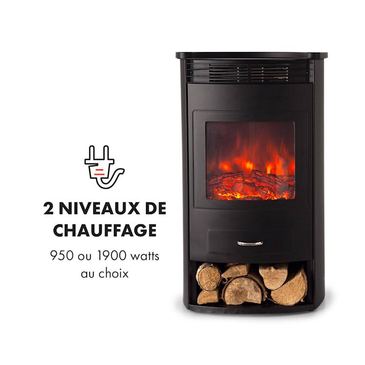 Bormio Cheminée électrique chauffage 950W 1900W thermostat -  noire Noir
