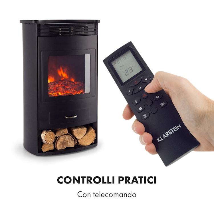 Bormio Camino Elettrico 950/1900 W Termostato Timer Settimanale Nero Nero