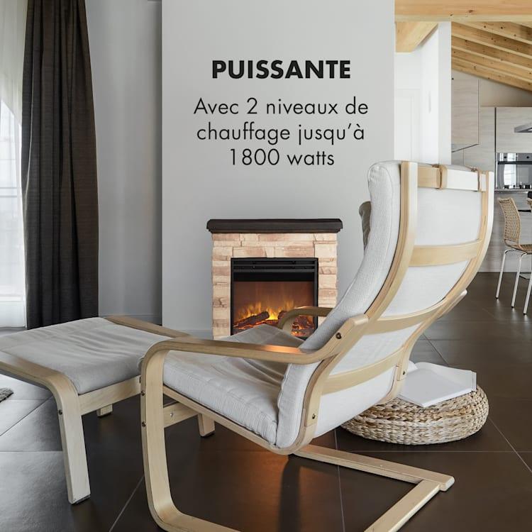 Kaprun Cheminée électrique chauffage 1800W design pierre Polystone