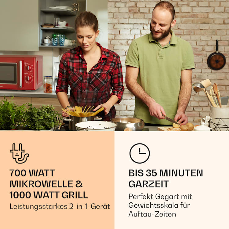 Caroline Mikrowellen-Grill | 20 Liter | 700 W Mikrowelle / 1000 W Grill | Drehteller Ø 25,5cm | QuickSelect | Retro-Design Rot