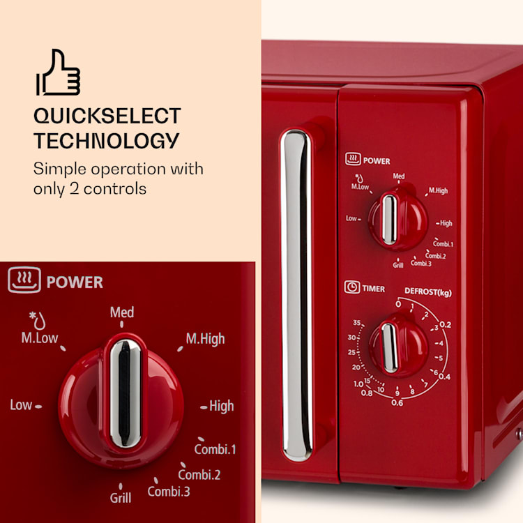Caroline, mikrohullámú sütő, 20 l, 700/1000 W, Ø 25.5 cm, QuickSelect, retró, piros Piros