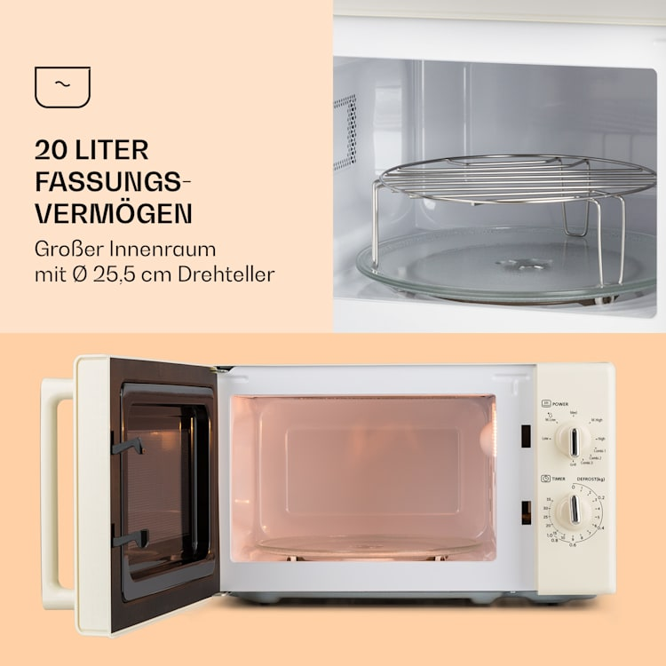 Caroline Mikrowellen-Grill   20 Liter   700 W Mikrowelle / 1000 W Grill   Drehteller Ø 25,5cm   QuickSelect   Retro-Design Creme