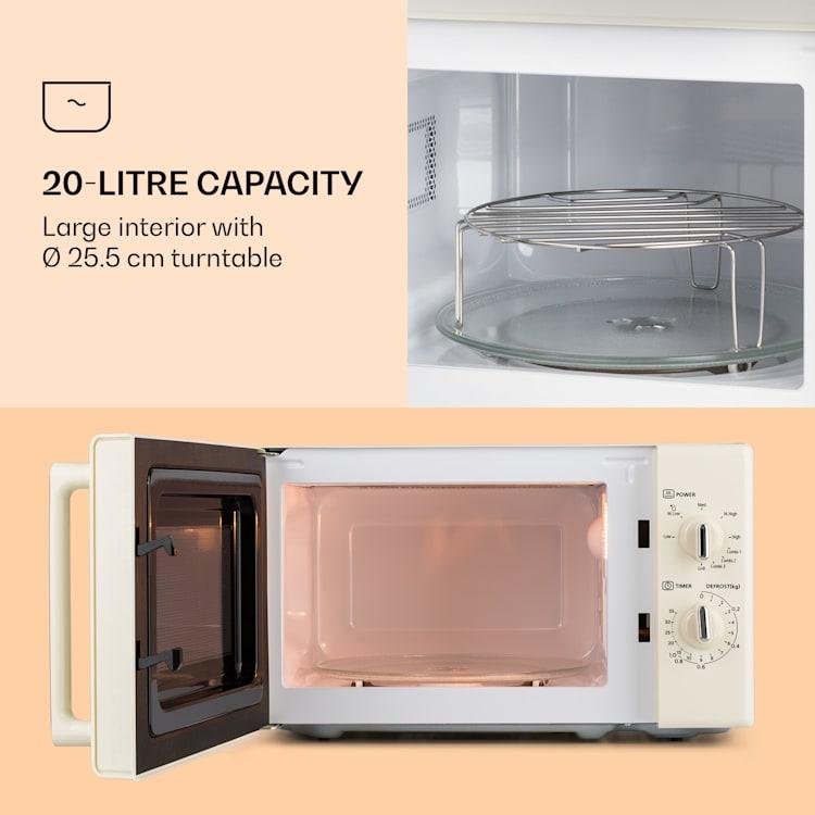 Caroline, mikrohullámú sütő, 20 l, 700/1000 W, Ø 25.5 cm, QuickSelect, retró, krémszínű Krémszín