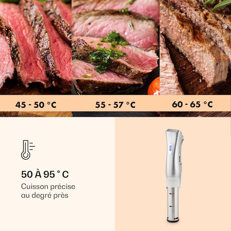 Cuiseur sous vide Quickstick | Thermostat : 50-95 °C par intervalles de 0,5 °C | Pompe de circulation pour 20 L | Acier inoxydable Argent