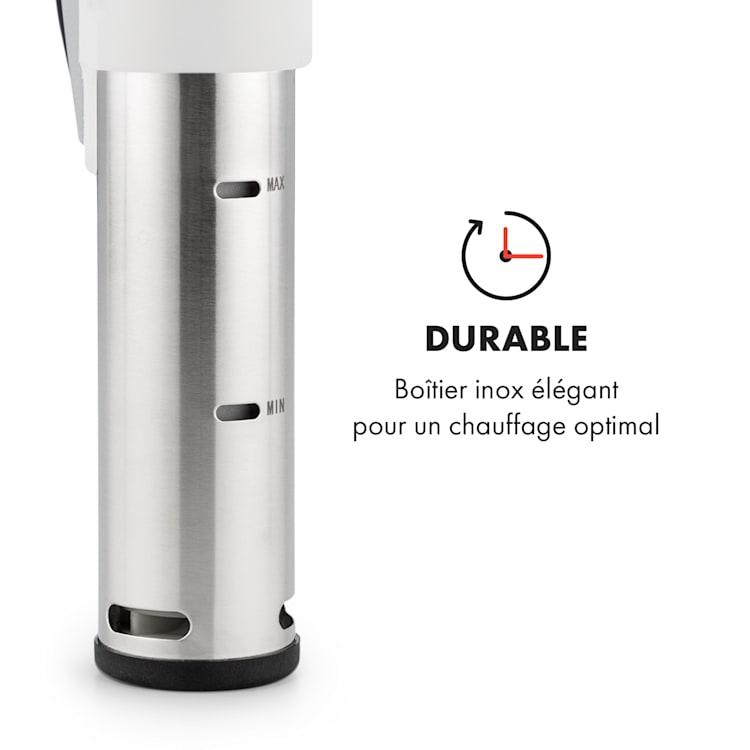 Quickstick Sous Vide Cuiseur vapeur avec thermostat & pompe 20L – inox Argent