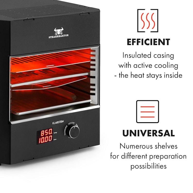 Steakreaktor Pro, visokotemperaturni notranji žar, izdelan v Nemčiji Črna