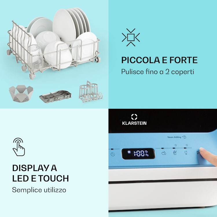 Amazonia Mini lavastoviglie 6 programmi display a LED Blu