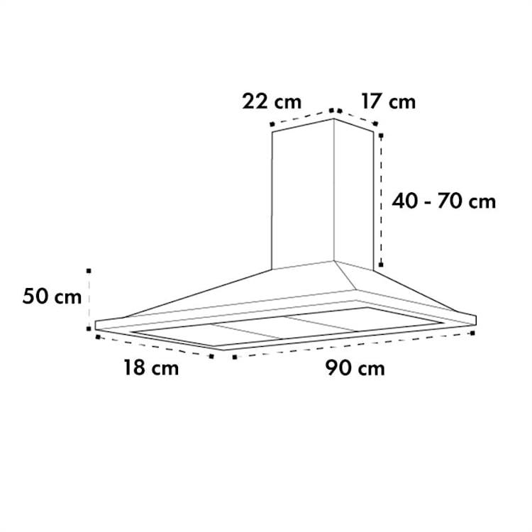Galina 90 afzuigkap afvoer 90 cm 90cm 350m³/h rvs plexiglas