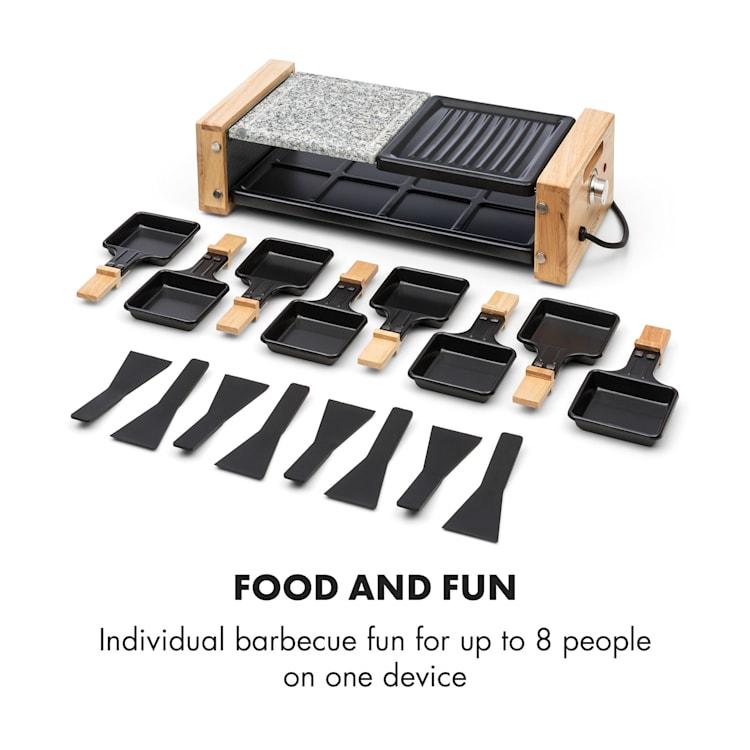 Chateaubriand Nuovo Raclette 1200W aluminium / sten 8 personer natursten / grillplatta | 8 raclette-pannor