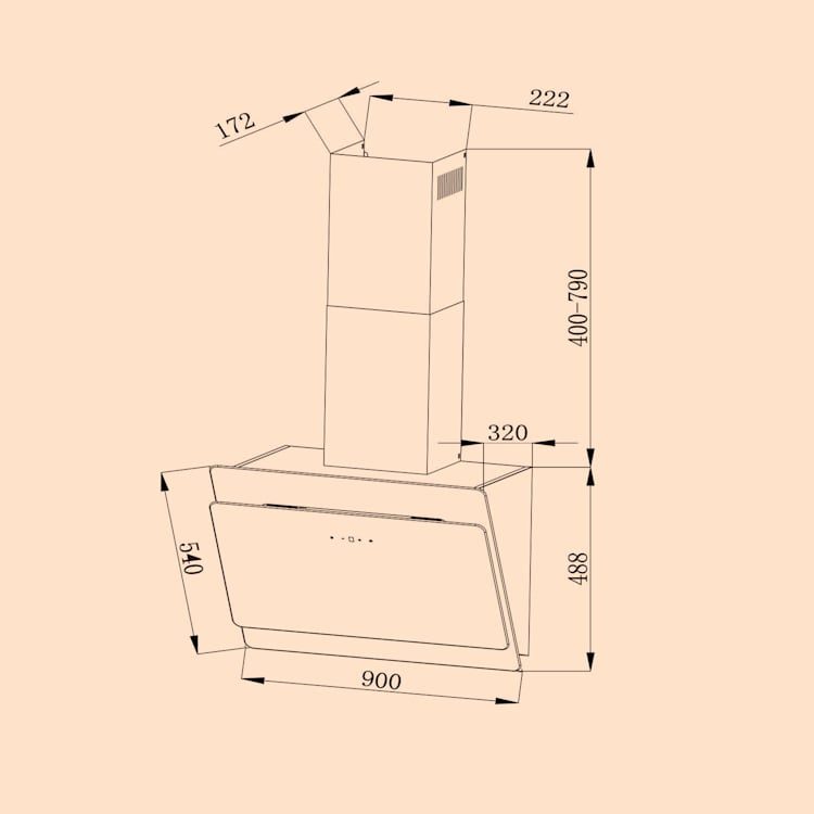 Aurica 90 Campana extractora, 90 cm, Montaje en pared, 165 W, negra Negro | 90 cm | Sin filtro de repuesto