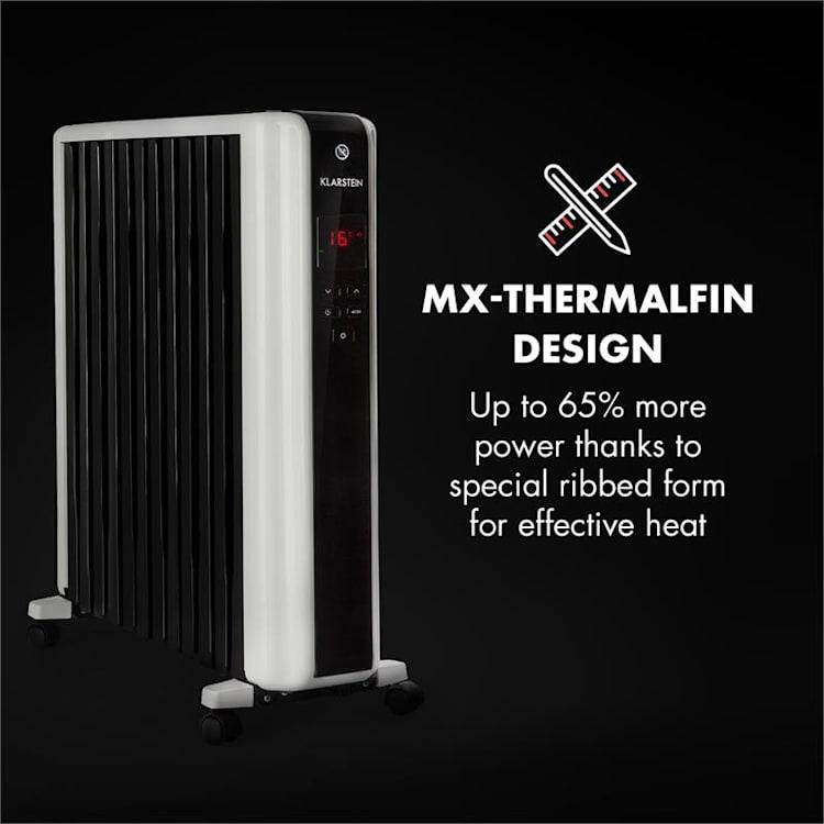 oneConcept Thermaxx 2500 olieradiator 2500W 5-35°C 24h-timer wit/zwart 2500 W
