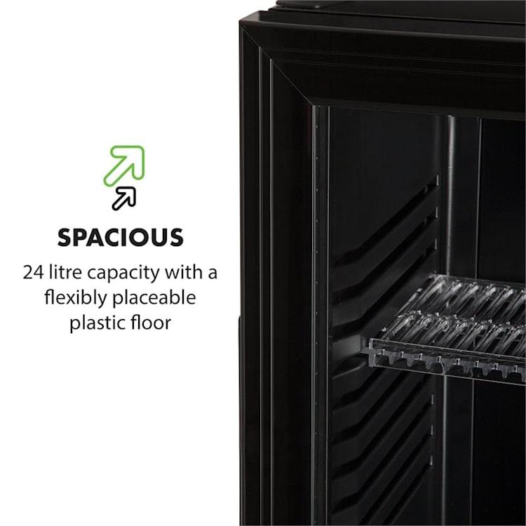 Brooklyn 24L lodówka A LED wkład z plastiku szklane drzwi czarna Czarny | 24 Ltr