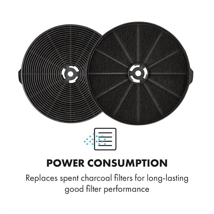 Aktív szén szűrők a páraelszívóhoz, pótalkatrész, 2 db szűrő, recirkulációs üzemmód, Ø11,5 cm
