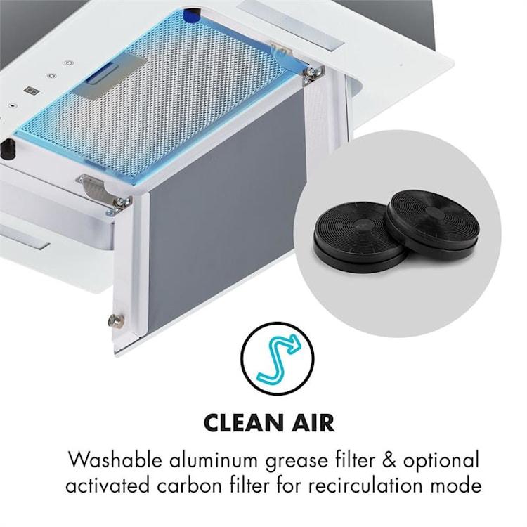 Hektor Dunstabzugshaube Einbau 52cm Abluft: 530 m³/h LED Touch Glas weiß Weiß | 52 cm | ohne Aktivkohle-Filter