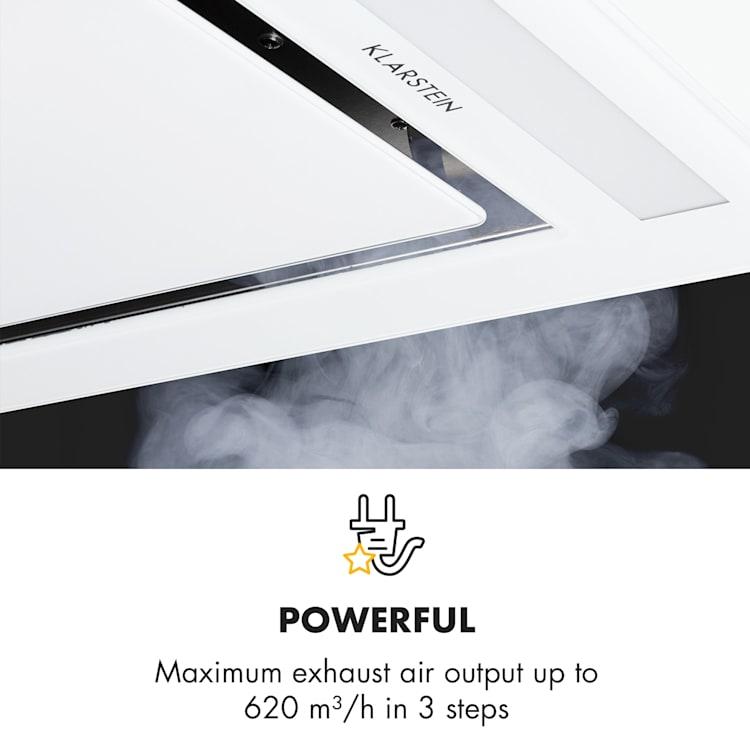 Remy hotte de plafond 90 cm 619 m³/h 230W 3 vitesses télécommande Blanc   Sans filtre de rechange