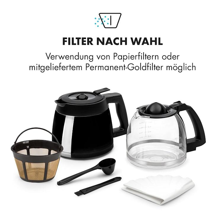 Aromatica II Set Kaffeemaschine, Mahlwerk, 1,25 l, schwarz Schwarz   Glas- & Thermoskanne